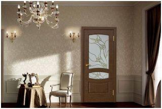 Дверь «Астерия» с витражным стеклом «Флора»