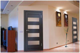 Дверь со стеклом «Сатин бронза»
